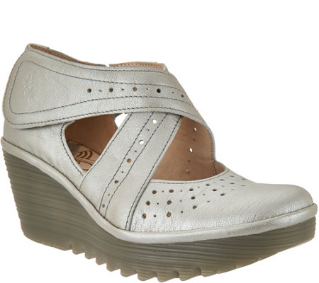 """As Is"" FLY London Leather Cross-strap Mary Janes- Yepe"