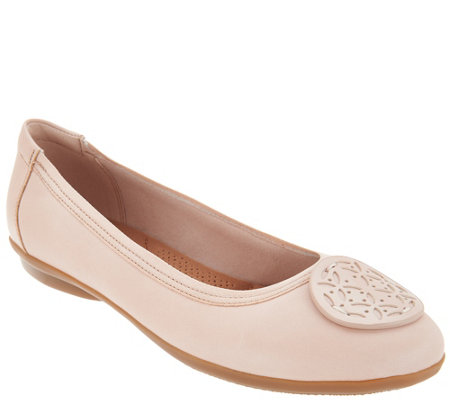 Clarks Leather Medallion Comfort Ballet Flats - Gracelin Lola