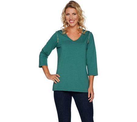 """As Is"" Belle by Kim Gravel Knit Top with Shoulder Zipper Detail"