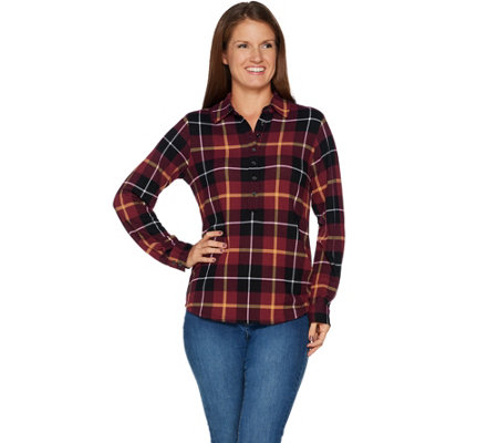 """As Is"" Denim & Co. Heavenly Jersey Long Sleeve Plaid Henley Top"