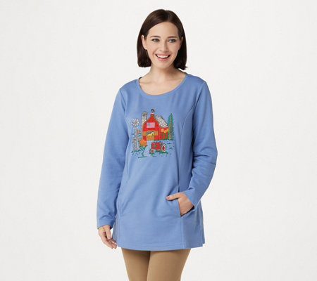 """As Is"" Quacker Factory Autumn Harvest Long Sleeve French Terry Tunic"