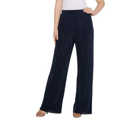 H by Halston Regular Plisse Wide Leg Full-Length Pants