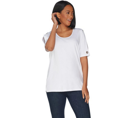 Belle by Kim Gravel TripleLuxe Knit Open Shoulder Top