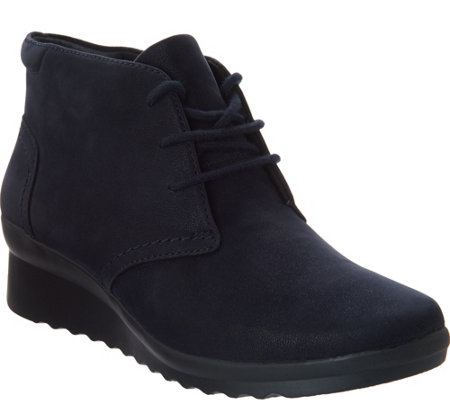 """As Is"" Clarks Cloud Steppers Lace up Ankle Boots - Caddell Hop"