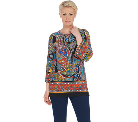 Susan Graver Printed Liquid Knit Top with Lacing