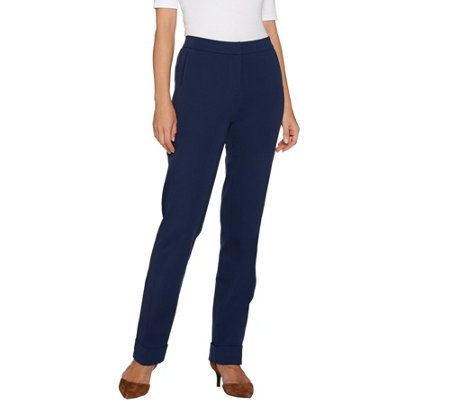 """As Is"" Isaac Mizrahi Live! Petite 24/7 Stretch Cuffed Strt. Leg Pants"