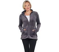 Cuddl Duds Double Plush Velour Mock Neck Zip-Up Jacket - A342098