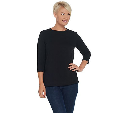 Martha Stewart 3/4 Sleeve Crew Neck Knit Top