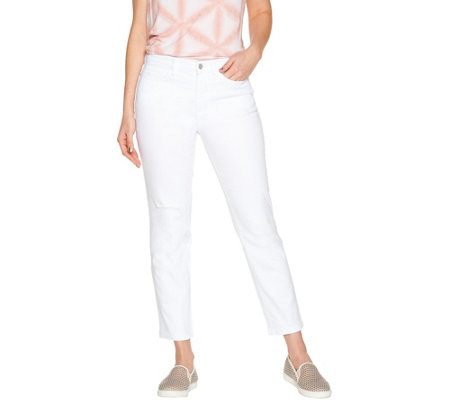 """As Is"" Studio by Denim & Co. Petite Classic Denim Ankle Jeans- White"