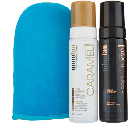 Minetan Absolute X20 And Caramel Self Tan Foam Duo W Mitt