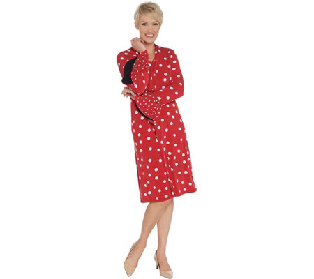 Susan Graver Polka Dot Liquid Knit Dress with Tie