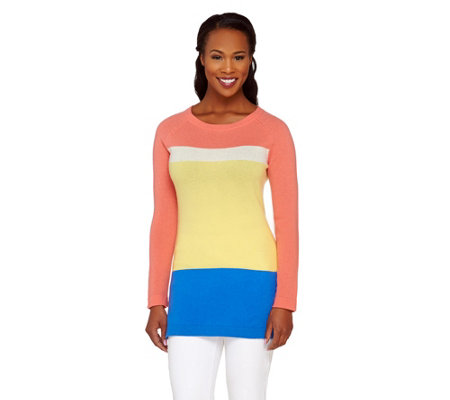 """As Is"" Isaac Mizrahi Live! 2-Ply Cashmere Color-Block Tunic Sweater"