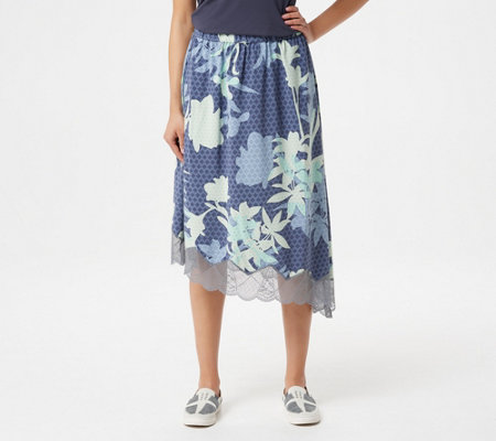 Logo By Lori Goldstein Printed Bi Stretch Skirt With Lace