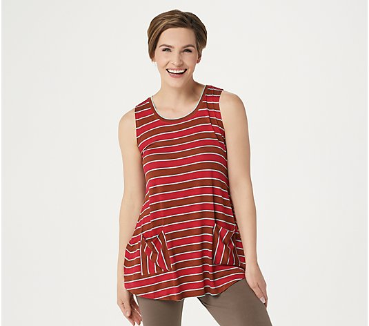 LOGO by Lori Goldstein Striped Knit Tank with Patch Pockets