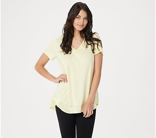 H by Halston Double Layer V-Neck Short-Sleeve Knit Top
