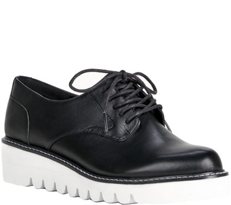 Sole Society Leather Lace-Up Flatforms - Kennedy