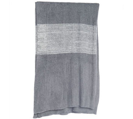 Barefoot Dreams CozyChic Lite Ribbed Throw w/ Heathered Strip