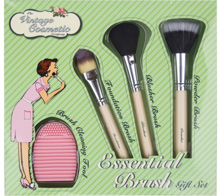 The Vintage Cosmetic Company 4-Piece Essential Brush Set