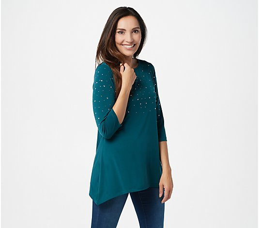 Quacker Factory 3/4-Sleeve Trapeze Hem Top with Rhinestones