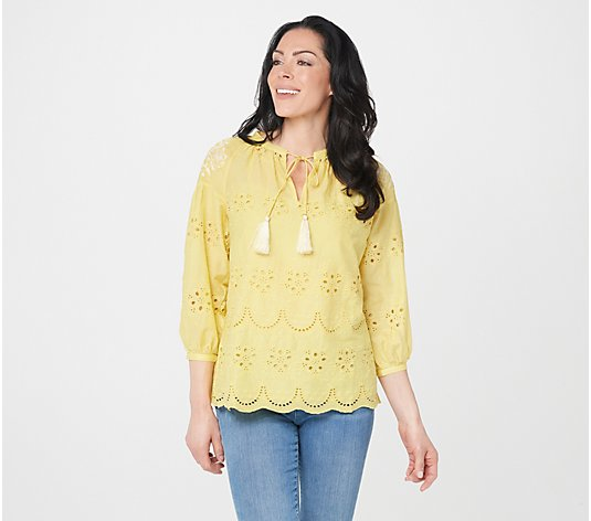 Tolani Collection Eyelet Top with Embroidery