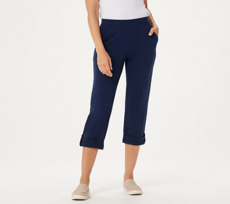 """As Is"" Denim & Co. Active French Terry Cuffed Crop Pants"