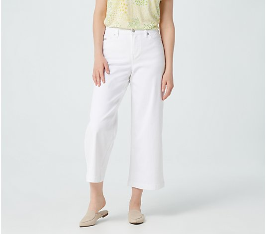 Isaac Mizrahi Live! Petite TRUE DENIM Wide Leg Cropped Jeans - White