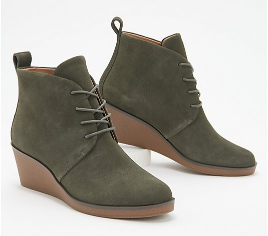 Aerosoles Suede Lace-Up Wedge Boots - Brooke