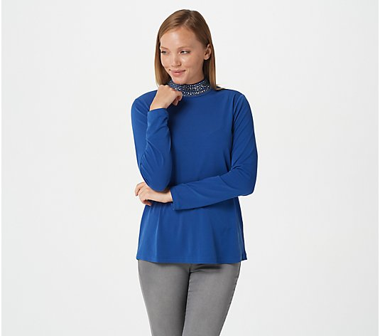 """As Is"" Susan Graver Liquid Knit Mock-Neck Top with Embellishments"