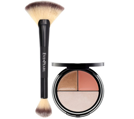 EVE PEARL Blush, Bronzer & Illuminator with Dual Fan Brush
