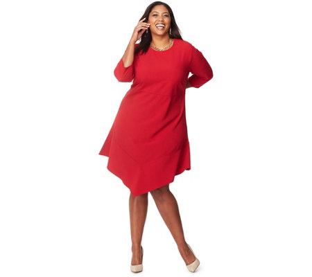 Just My Size Women\'s Plus 3/4-Sleeve V-Hem Dress — QVC.com