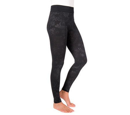 MUK LUKS Women's Embossed Fleece-Lined Leggings