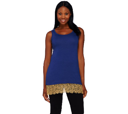 LOGO Lavish by Lori Goldstein Knit Tank with Lace and Beaded Trim