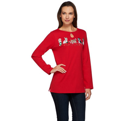 Quacker Factory Fur-Ever Merry Keyhole Long Sleeve T-Shirt