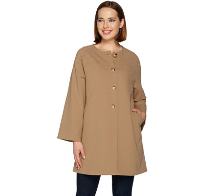 Dennis Basso Caviar Crepe Button Front Long Coat