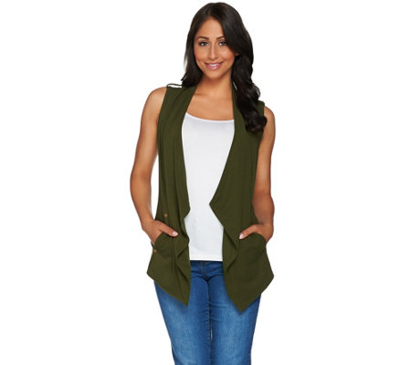 Susan Graver Weekend Stretch Cotton Modal Drape Front Vest