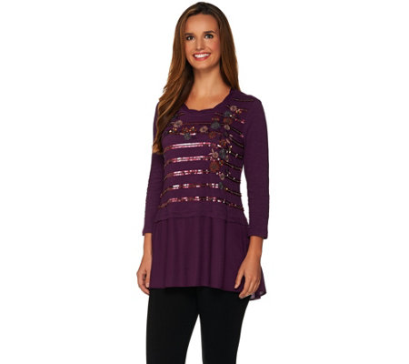 LOGO Lavish by Lori Goldstein Embroidered Floral Knit Top with Beading