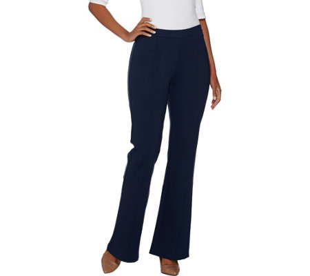 H by Halston Regular Ponte Flare Pants with Seam Detail