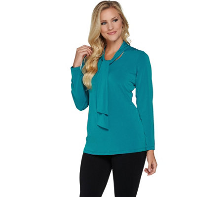 Susan Graver Liquid Knit Long Sleeve Top with Ties