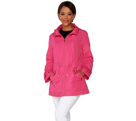 """As Is"" Susan Graver Mesh Trim Anorak Jacket with Hood"