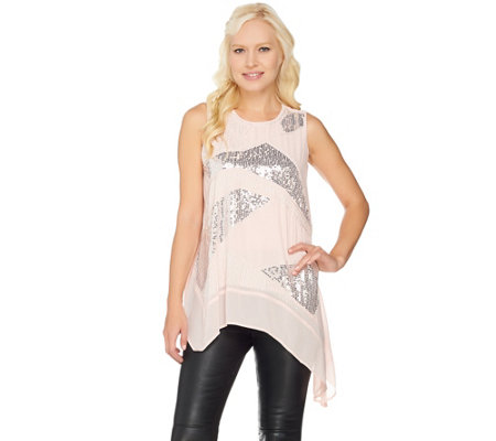 H by Halston Sleeveless Embellished Top with Asymmetric Hem