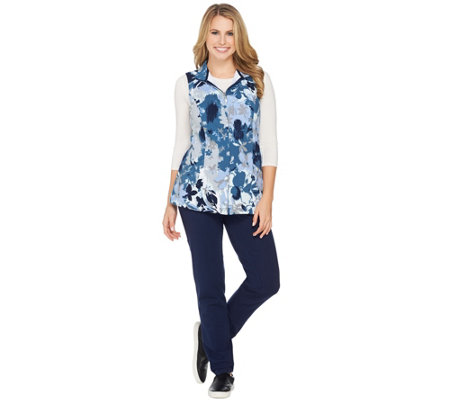 Denim & Co. Active Petite Pants and Printed Vest Set