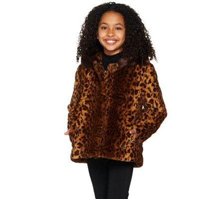 Dennis Basso Children's Animal Print Faux Fur Jacket