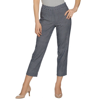 Susan Graver Printed Stretch Woven Slim Leg Zip Front Crop Pants