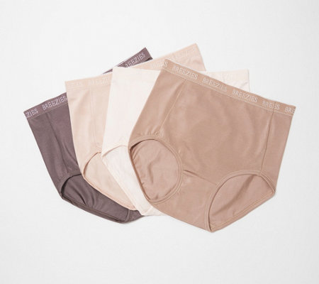 Breezies Set of 4 Nylon Microfiber Brief Panty