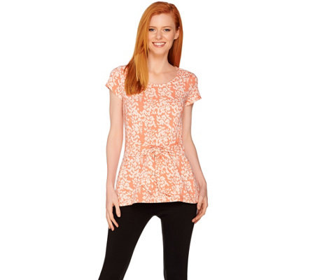 H by Halston Short Sleeve Petal Print Tie Front Knit Top