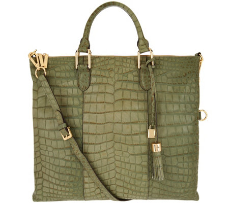 G.I.L.I. Croco Embossed Italian Leather Satchel