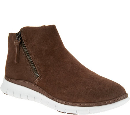 Vionic Suede Zip-Up Slip-On Shoes - Dylan