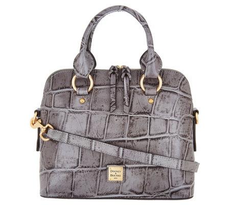 Dooney Bourke Croco Embossed Leather Satchel Handbag Cameron