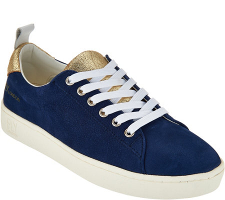 """As Is"" FLY London Leather Lace-up Sneakers-Maco"