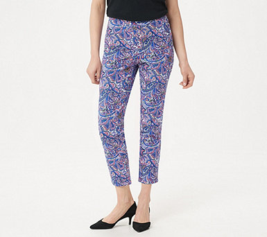 Isaac Mizrahi Live! 24/7 Stretch Print or Solid Ankle Pants - A302699